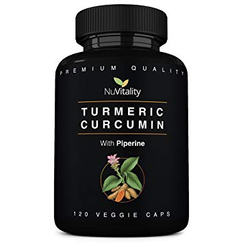 NuVitality Tumeric Supplement With Black Pepper Bottle